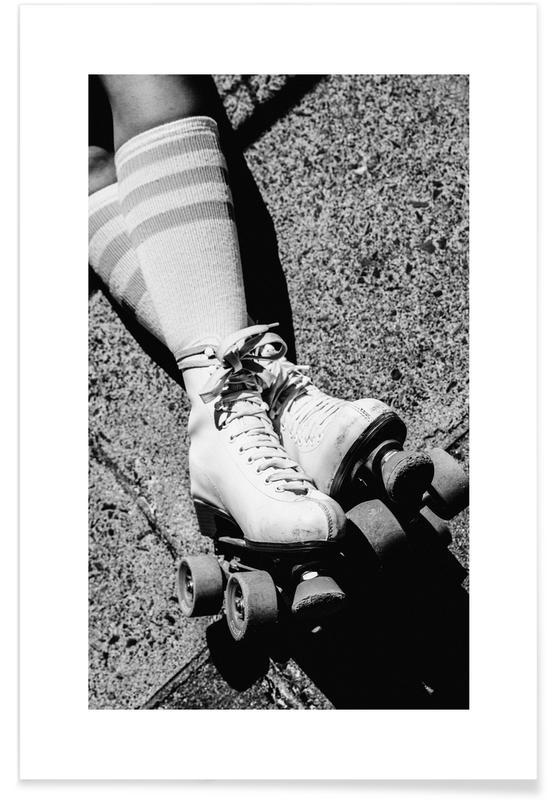 Noir & blanc, Patins à roulettes affiche