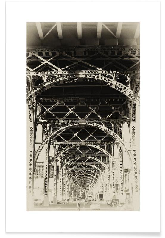 Sort & hvidt, Seværdigheder & landmærker, New York, Riverside, NYC Plakat