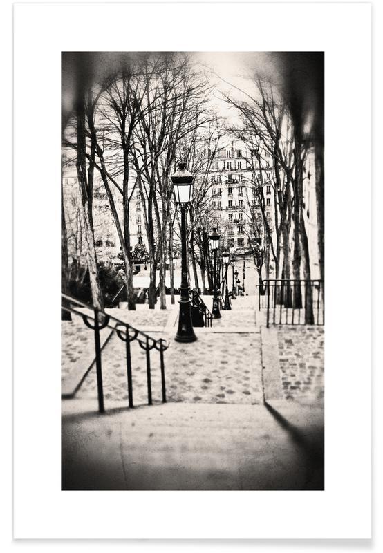 Sort & hvidt, Seværdigheder & landmærker, Montmartre, Paris Plakat