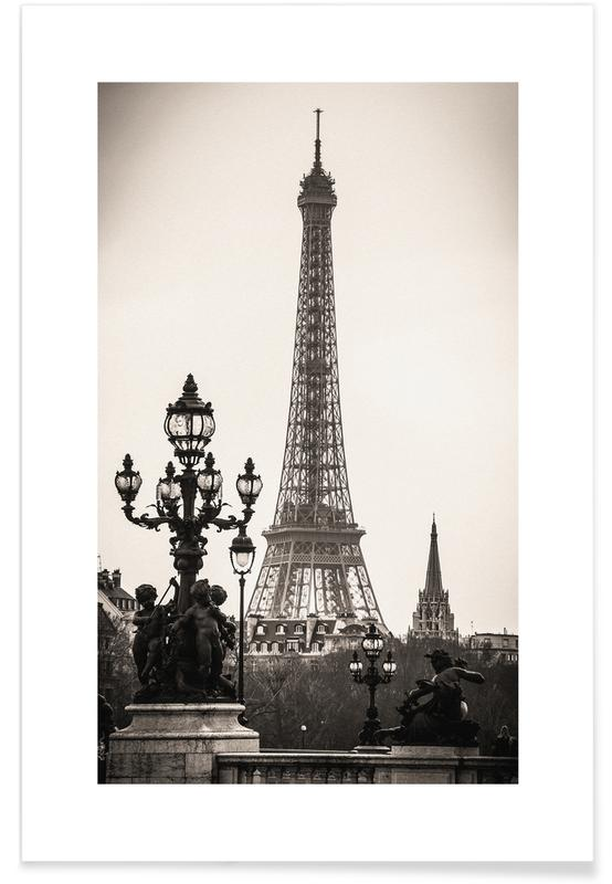 Schwarz & Weiß, Sehenswürdigkeiten & Wahrzeichen, Eiffel Tower -Poster