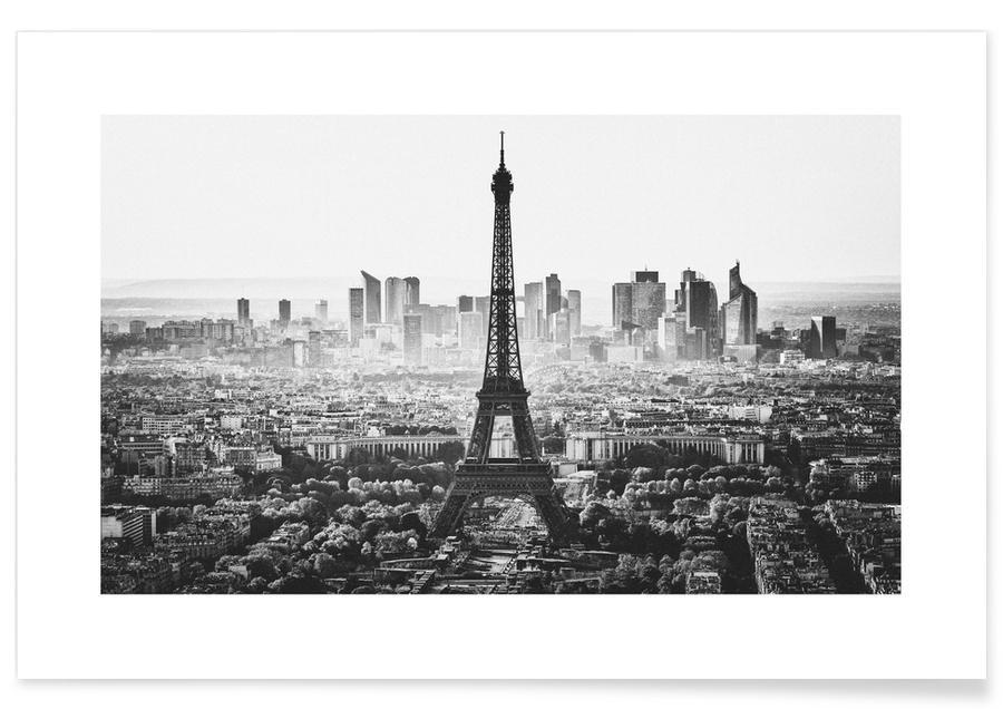Sort & hvidt, Seværdigheder & landmærker, Paris Skyline Plakat
