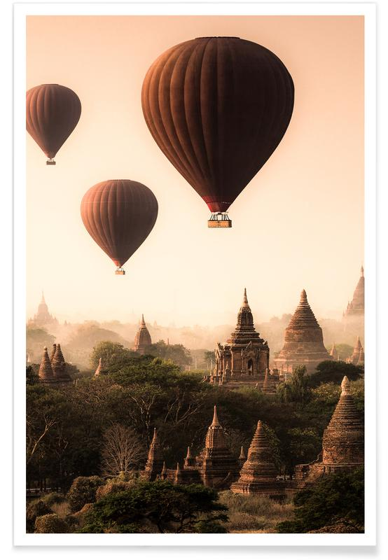 Skylines, Hot Air Balloons in Bagan affiche
