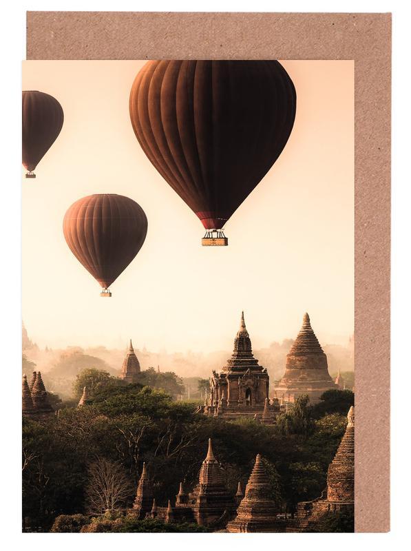 Skylines, Hot Air Balloons in Bagan cartes de vœux