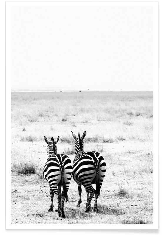 Noir & blanc, Art pour enfants, Animaux de safari, Double Stripes affiche