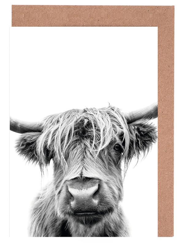 Cows, Black & White, Beneath Raised Brows Greeting Card Set