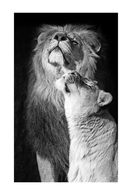 Lions in Love tableau en verre