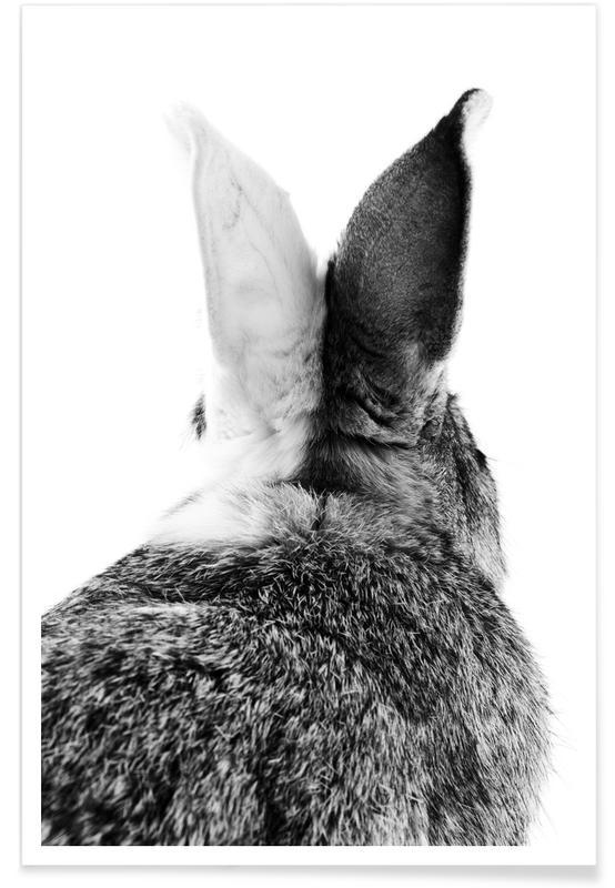 Børneværelse & kunst for børn, Sort & hvidt, Påske, Kaniner, Bunny Ears Black & White Plakat