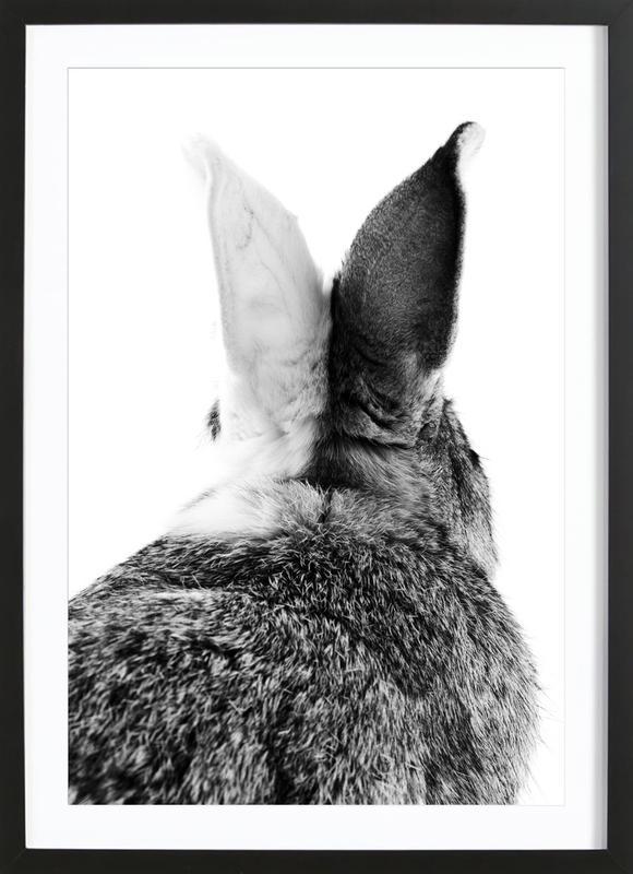 Bunny Ears Black & White Poster i träram