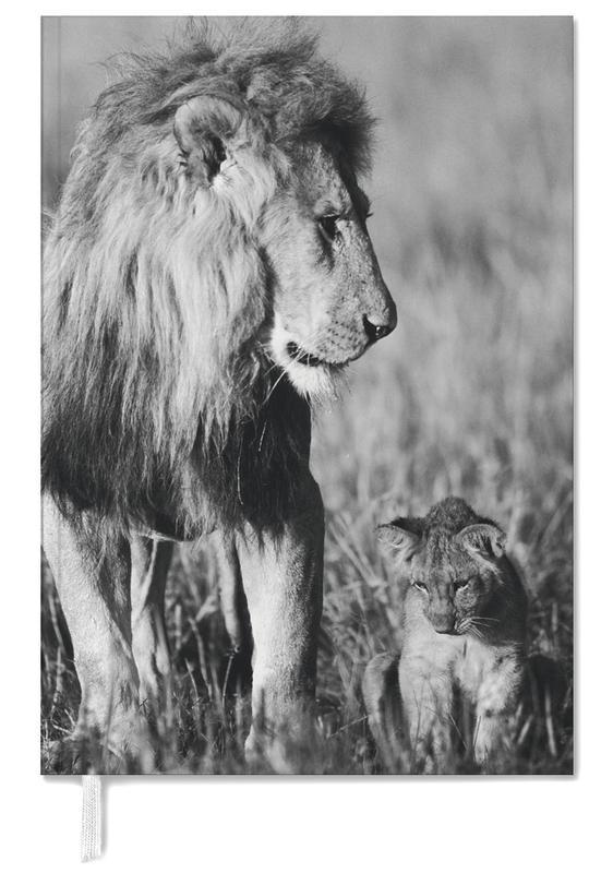 Schwarz & Weiß, Kinderzimmer & Kunst für Kinder, Safari-Tiere, Lion Teaching His Cub -Terminplaner
