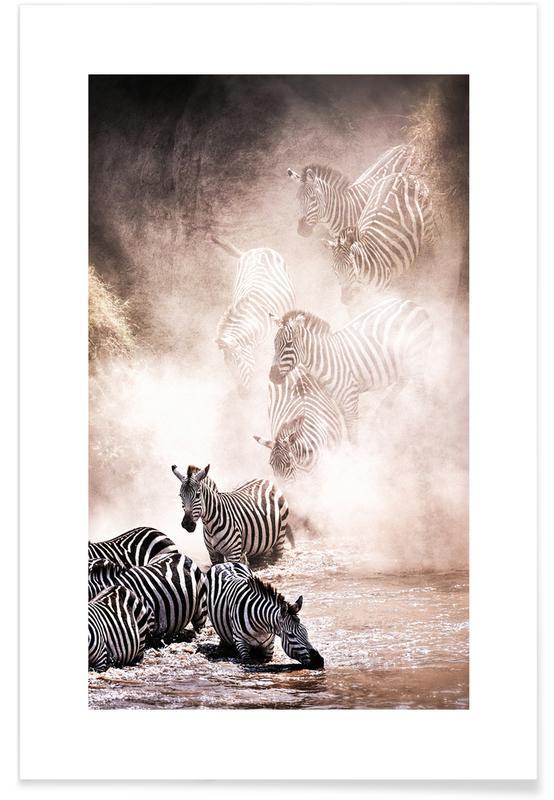 Rejser, Safari dyr, Crossing the Mara River Plakat