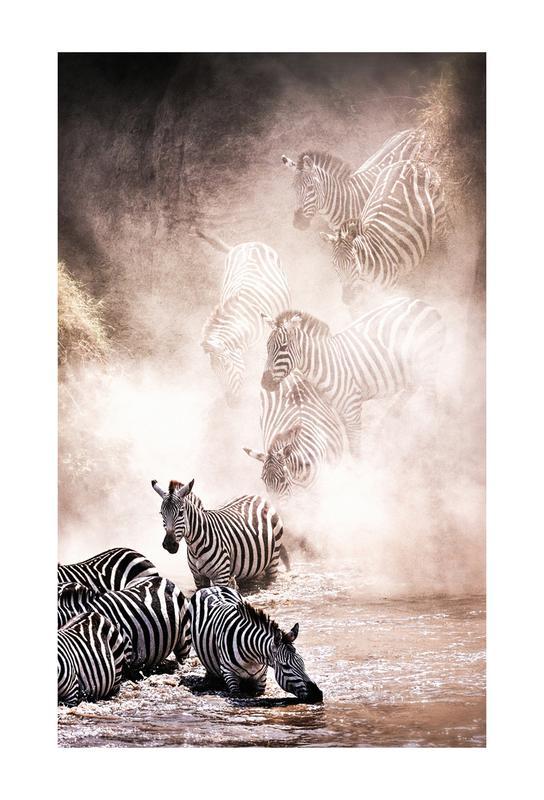 Crossing the Mara River Aluminium Print