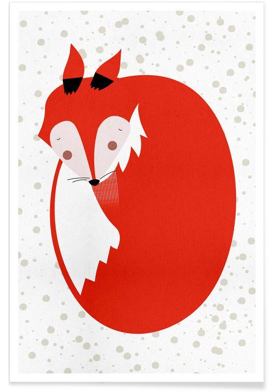 Volpi, Arte per bambini, Sleepy Fox poster