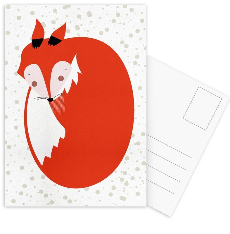 Renards, Art pour enfants, Sleepy Fox cartes postales