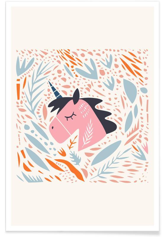 Chevaux, Art pour enfants, Unicorn in Nature affiche