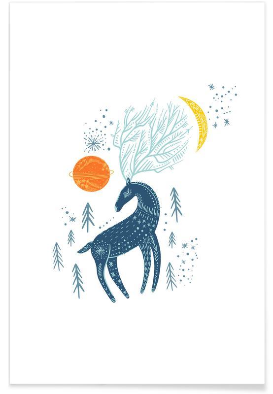 Cerfs, Art pour enfants, Winter Magic affiche