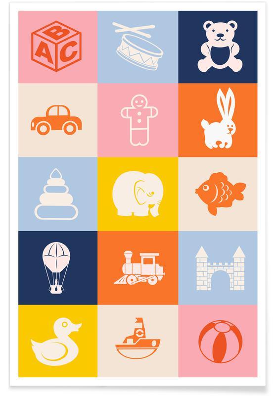Børneværelse & kunst for børn, Kids Collage Plakat