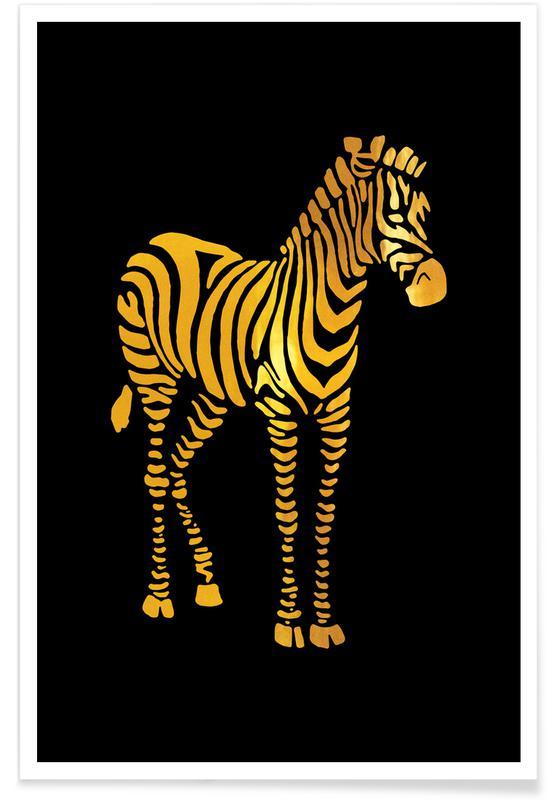 Nursery & Art for Kids, Safari Animals, Gold Zebra Poster