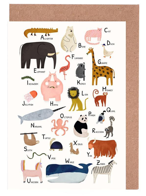 Kinderzimmer & Kunst für Kinder, Animal Friends -Grußkarten-Set