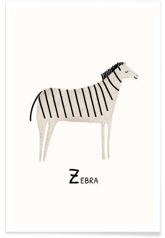 Zebraer, Børneværelse & kunst for børn, Zebra Plakat