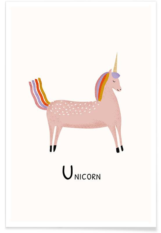 Enhjørninger, Børneværelse & kunst for børn, Unicorn Plakat