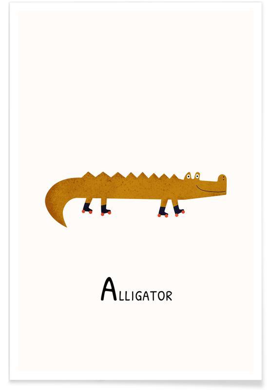 Børneværelse & kunst for børn, Alligator Plakat