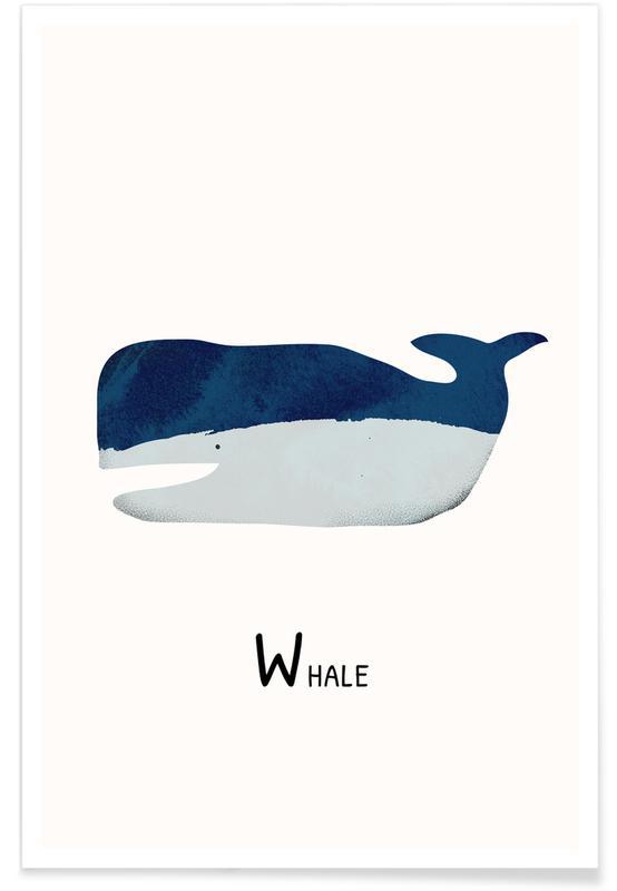 Børneværelse & kunst for børn, Whale Plakat