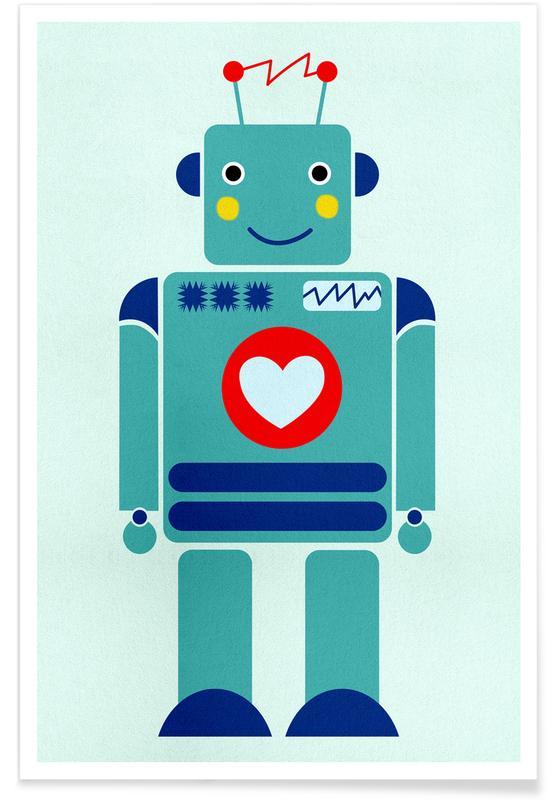 Art pour enfants, Robot with a Heart affiche