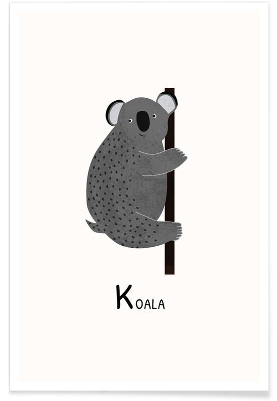Børneværelse & kunst for børn, Koala Plakat