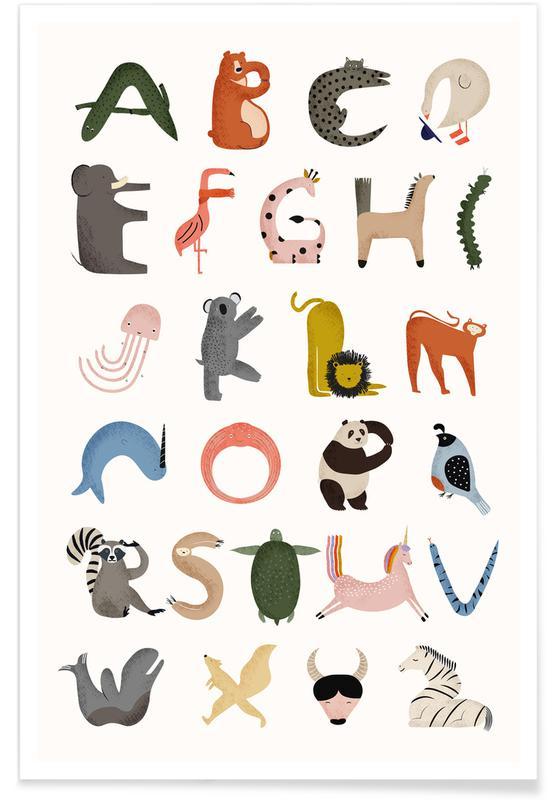 Børneværelse & kunst for børn, Animal Alphabet Plakat