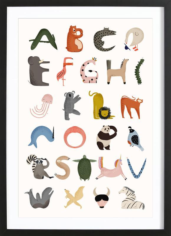 Animal Alphabet -Bild mit Holzrahmen