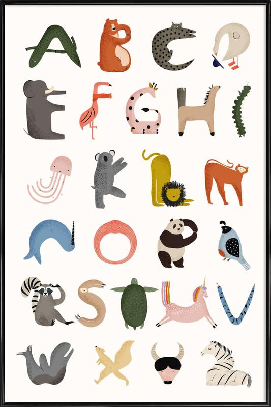 Animal Alphabet -Bild mit Kunststoffrahmen