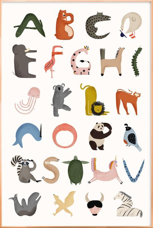 Animal Alphabet -Poster im Alurahmen