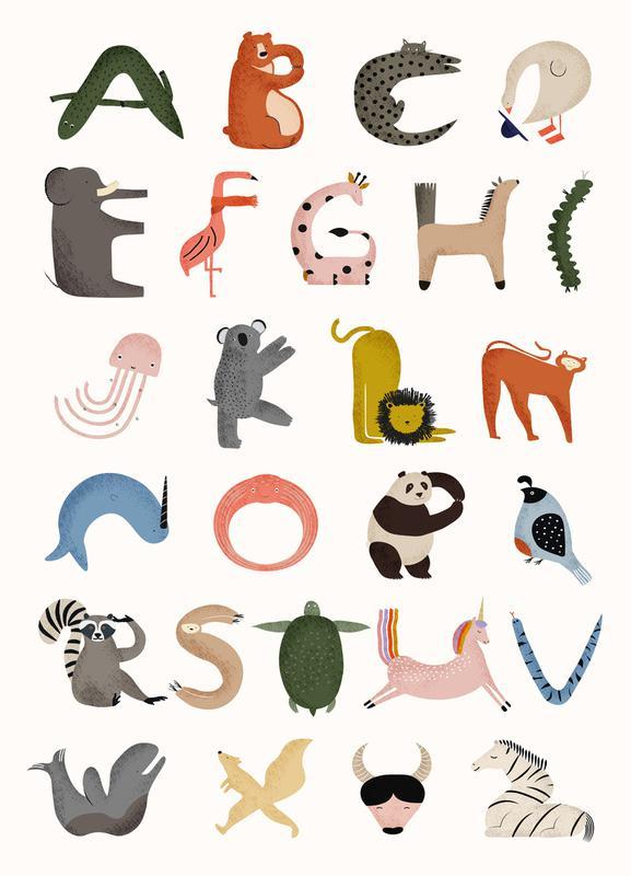 Animal Alphabet -Leinwandbild