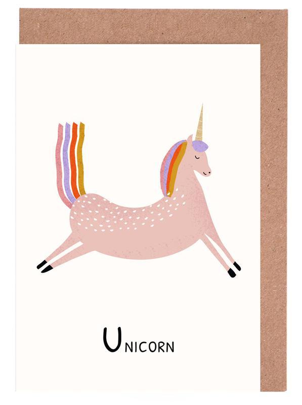 Einhörner, Kinderzimmer & Kunst für Kinder, U for Unicorn -Grußkarten-Set