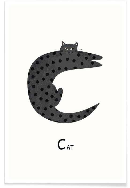 Katte, Børneværelse & kunst for børn, C for Cat Plakat