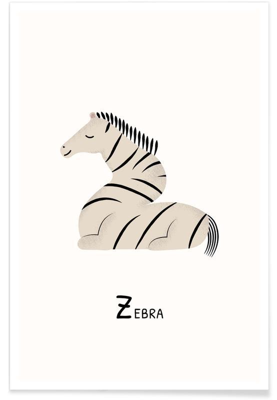 Zèbres, Art pour enfants, Z for Zebra affiche
