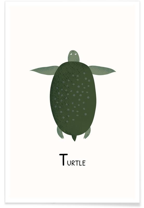 Børneværelse & kunst for børn, T for Turtle Plakat