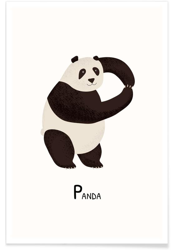 Børneværelse & kunst for børn, Pandaer, P for Panda Plakat