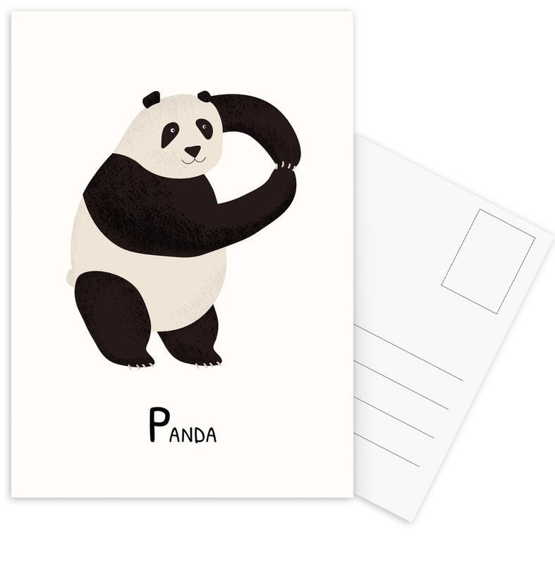 Kinderzimmer & Kunst für Kinder, Pandas, P for Panda -Postkartenset