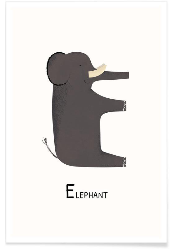 Art pour enfants, Éléphants, E for Elephant affiche