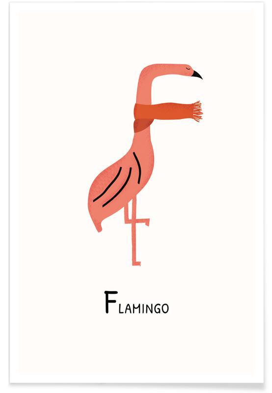 Børneværelse & kunst for børn, Flamingoer, F for Flamingo Plakat