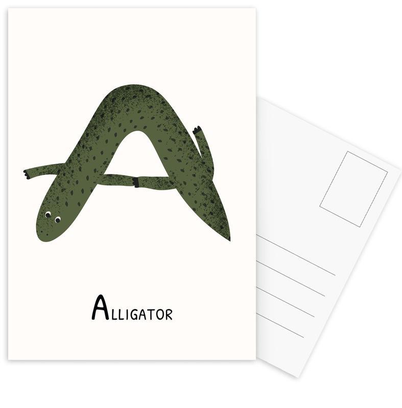 Kinderzimmer & Kunst für Kinder, A for Alligator -Postkartenset