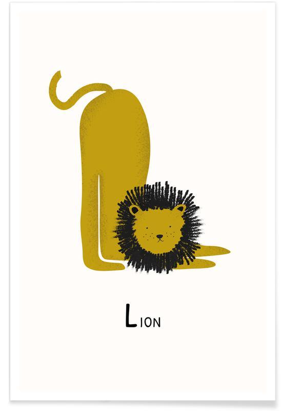 Børneværelse & kunst for børn, Løver, L for Lion Plakat