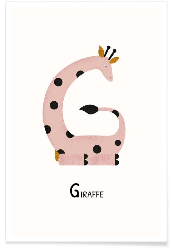 Art pour enfants, Girafes, G for Giraffe affiche