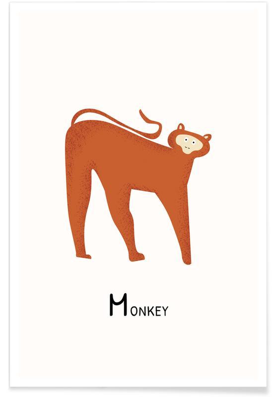 Aber, Børneværelse & kunst for børn, M for Monkey Plakat