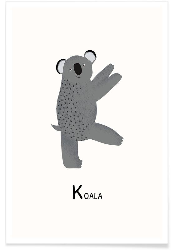 Koalas, Art pour enfants, K for Koala affiche