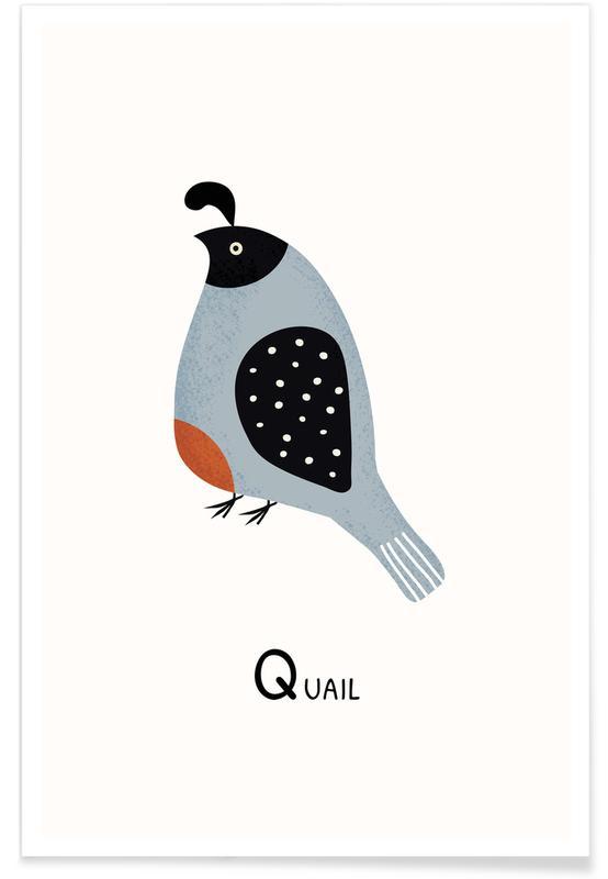 Børneværelse & kunst for børn, Q for Quail Plakat