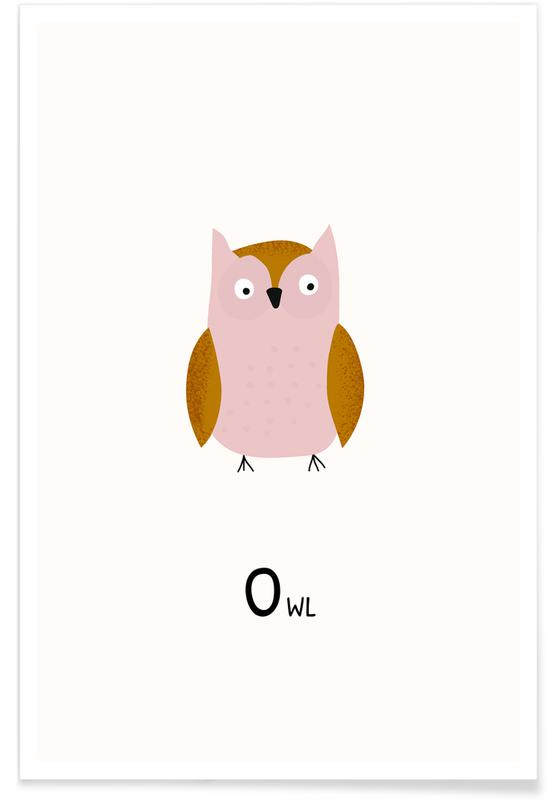 Chouettes, Art pour enfants, Owl affiche