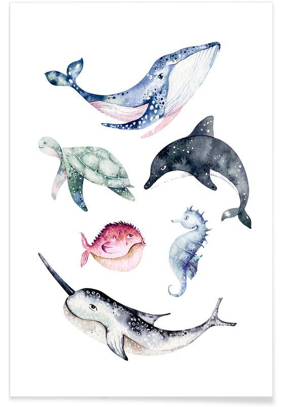 Kinderzimmer & Kunst für Kinder, Sealife -Poster