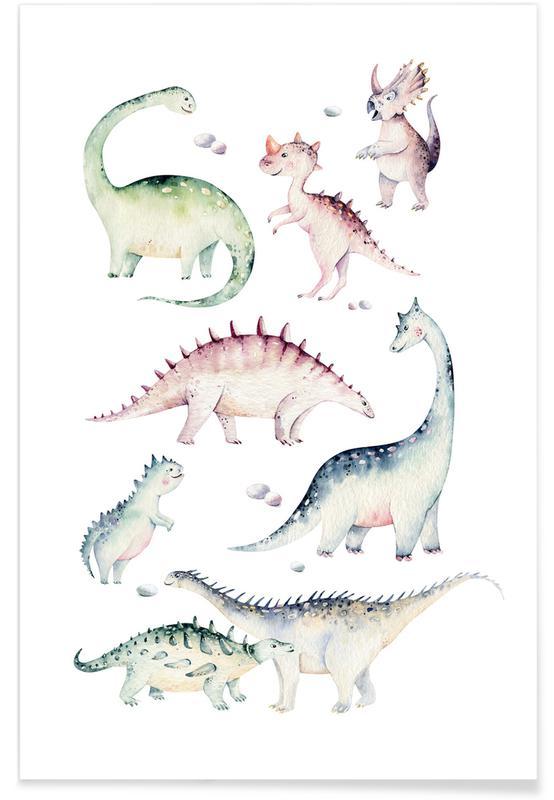 Art pour enfants, Dinosaures, Little Dinosaurs affiche